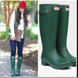 Hunter Original Tall Rain Boots Green 7 Rubber
